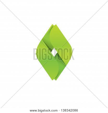 Creative green geometric logo design isolated on white, beauty elegant trendy eco concept, ecology sign, green technology logotype, innovation idea,