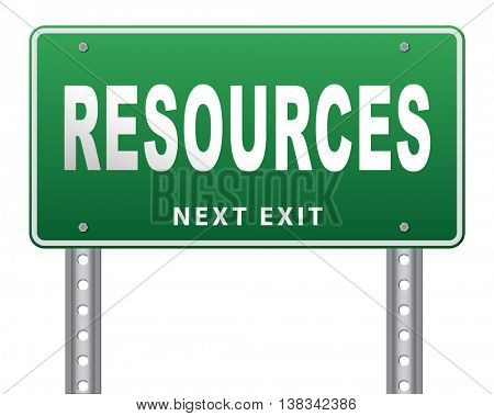 Resources human or natural resource road sign billboard 3D illustration, isolated, on white