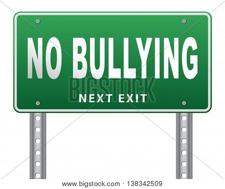Stop bullying at school or at work stopping an online internet bully 3D illustration, isolated, on white