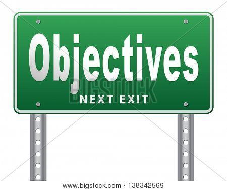 Business Objectives firm statement on vision, mission, values and strategies and strategy planning of a company or business 3D illustration, isolated, on white