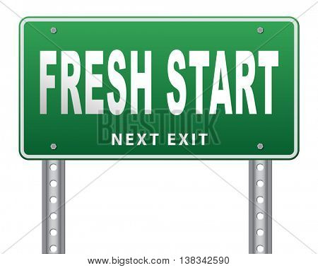 new fresh start or chance back to the beginning and do it again road sign billboard 3D illustration, isolated, on white