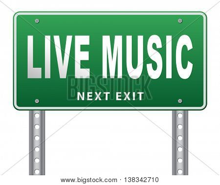 music live stream radio music or listen live on air broadcasting songs program road sign 3D illustration, isolated, on white