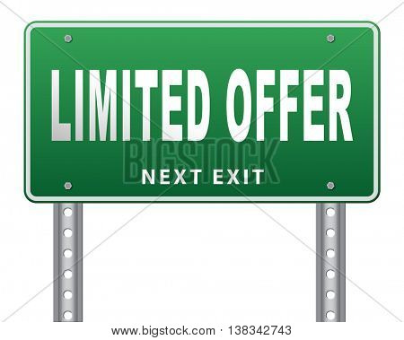 limited offer edition or stock webshop icon or web shop sign  3D illustration, isolated, on white