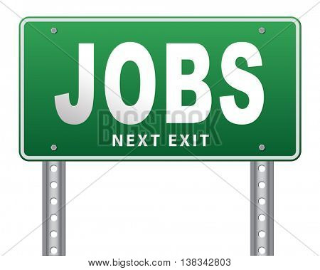 job search vacancy jobs online application help wanted hiring now ad advert advertising road sign billboard 3D illustration, isolated, on white