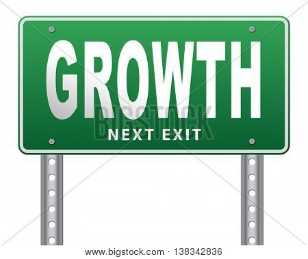 growth, grow in economic market stock or business development profit rise increase, road sign billboard. 3D illustration, isolated, on white