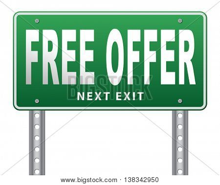 free offer online bargain gratis download online internet web shop, road sign billboard. 3D illustration, isolated, on white