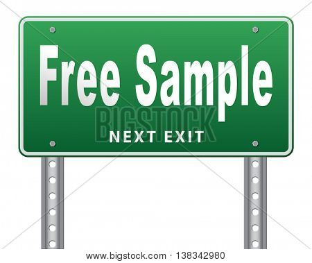 Free product sample offer or gratis download webshop button or web shop, road sign billboard.  3D illustration, isolated, on white