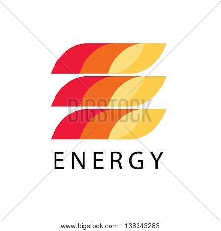 Energy power vector logo template in fire style. Petrol, fuel, diesel, gasoline, benzine, gas, fuel tank, oil industry business card ribbon concept. Letter e print icon idea in red, yellow background