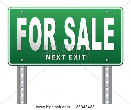 For sale sign, selling a house apartment or other real estate sign. Home flat or room to let icon.  3D illustration, isolated, on white