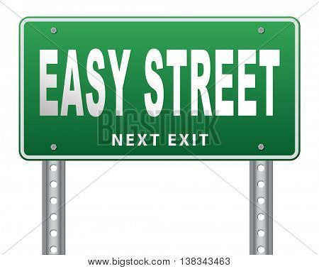 easy street, keep it simple no risk and safe solution 3D illustration, isolated, on white