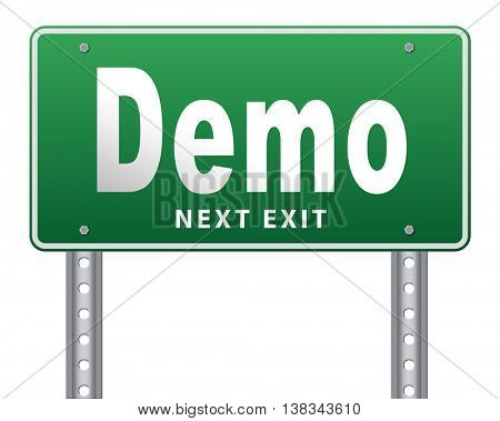 Demo for free trial download demonstration, billboard. 3D illustration, isolated, on white