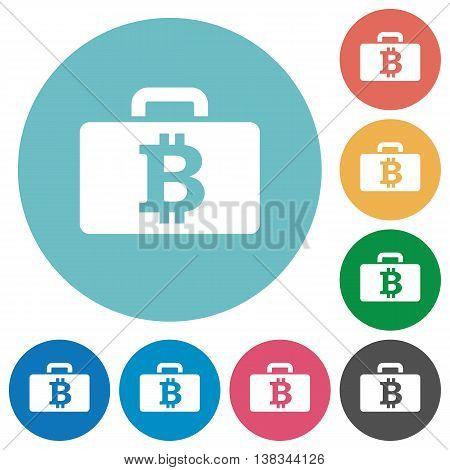 Flat bitcoin bag icon set on round color background.