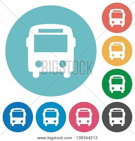 Flat bus icon set on round color background.