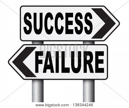 success or failure being successful in life and business road sign arrow 3D illustration, isolated, on white