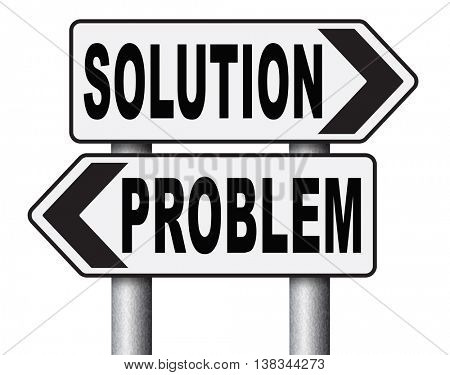problem solution searching solutions by solving problems road sign 3D illustration, isolated, on white