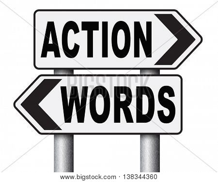 action words the time to act is now or never mister big mouth last stop showing off 3D illustration, isolated, on white