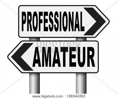 professional amateur craftsman expert novice or beginner skilled specialist or recruit and rookie road sign arrow craftsmanship 3D illustration, isolated, on white