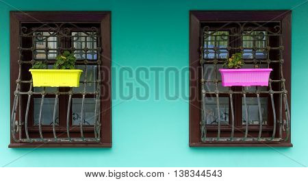 colorful wooden windows and frames flowers  house