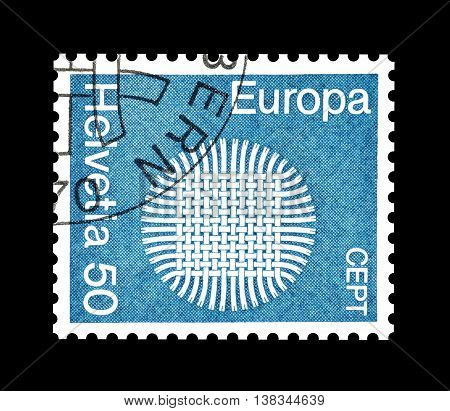 SWITZERLAND - CIRCA 1970 : Cancelled postage stamp printed by Switzerland, that shows Europe CEPT.