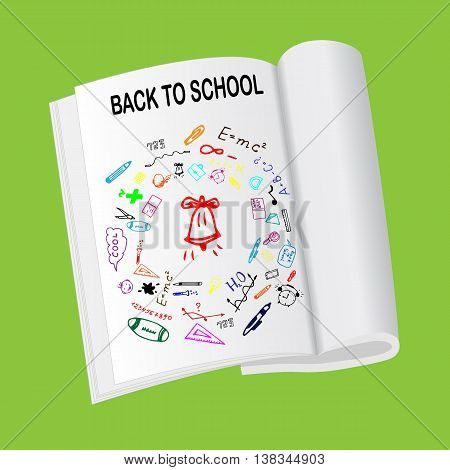 Back to school sketch illustration. Freehand drawing doodles on magazin. Hand drawn set of school sign. Vector illustration
