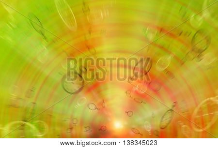 Color positive background. Flying Blurred clock on a color background. The concept of the transience of time. Time is running fast and irrevocably.