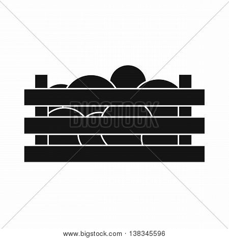 Watermelons in wooden crate icon in simple style isolated vector illustration