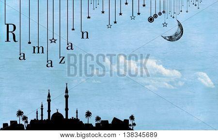 Ramadan illustration silhouette moon and sky bakground