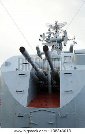close-up - the view from the nose to the Russian ship military and its arms