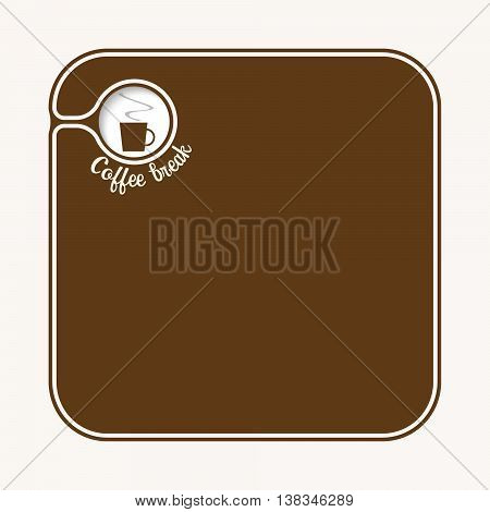 Brown box for fill your text with cup of coffee