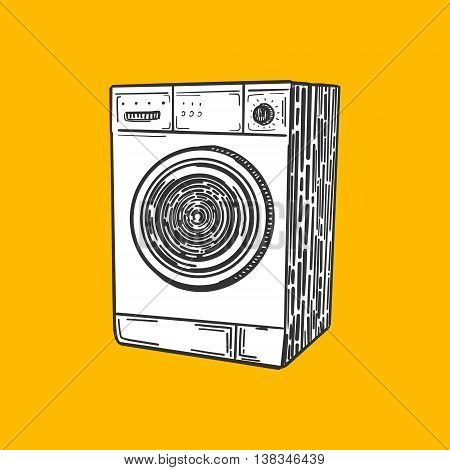 Washing machine engraving style vector illustration. Scratch board style imitation