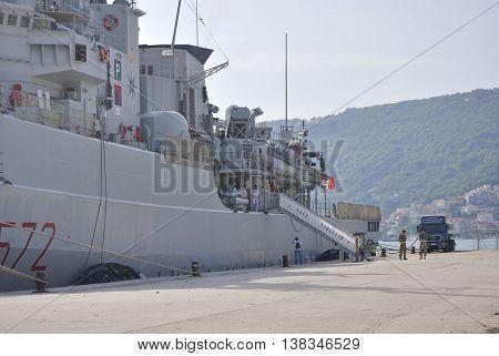 Zelenika town, Montenegro - June 18, 2016: Italian military ship Libeccio ancored in port of Zelenika town.