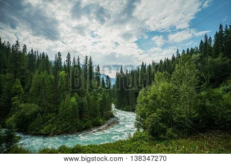 The meandering aqua waters of the fRobson River near Mount Robson British Columbia Canada