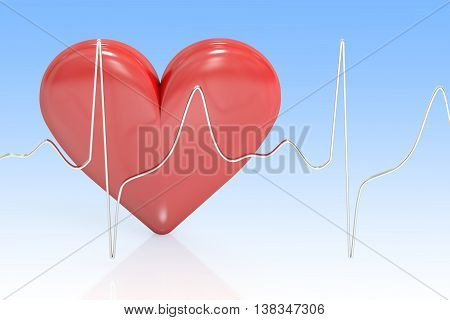 Heart and heartbeat symbol medical concept. 3D rendering