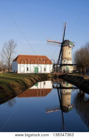 The Kildonkse windmill on the river Brabantse Aa near Dinther in the Dutch province Noord-Brabant