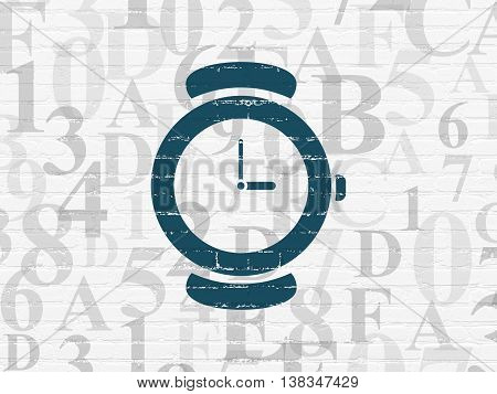 Time concept: Painted blue Watch icon on White Brick wall background with  Hexadecimal Code