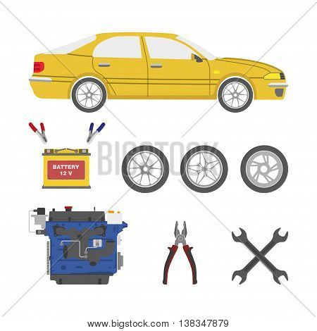 Set of car parts. Battery motor wheels tools. Vector illustration