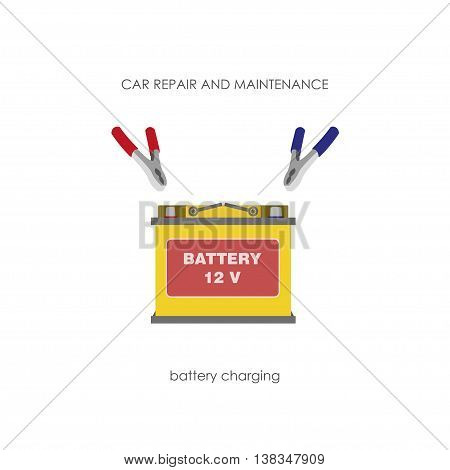 Car battery with terminals on a white background. Yellow accumulator. Vector illustration
