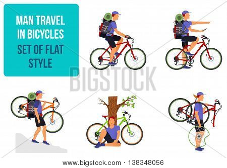 Bicycle Travel. A Man Traveling By Bicycle.