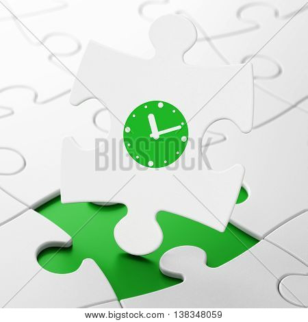 Time concept: Clock on White puzzle pieces background, 3D rendering