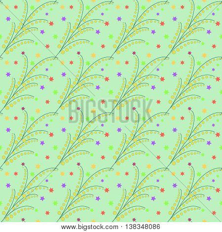 Floral twig abstract seamless pattern. Fashion graphic background design. Modern stylish abstract texture. Colorful template for prints textiles wrapping wallpaper website etc. VECTOR illustration