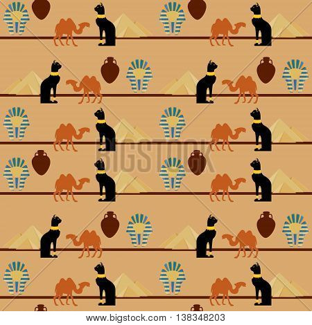 Vector illustration egypt seamless pattern with symbols of Egyopt. Egypt cat giza pyramids amphora camel and pharaoh mask