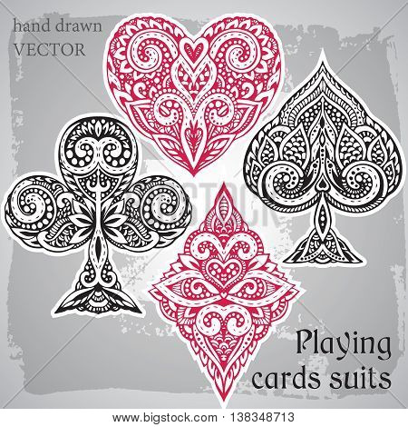 Vector set of suit black and red playing card with decorative ornament. Isolated objects on grey background. words plying cards suits