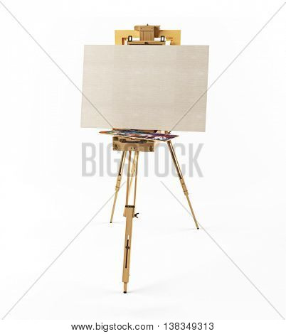 wooden  easel and clean canvas  isolated 3d rendering