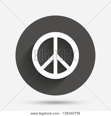 Peace sign icon. Hope symbol. Antiwar sign. Circle flat button with shadow. Vector