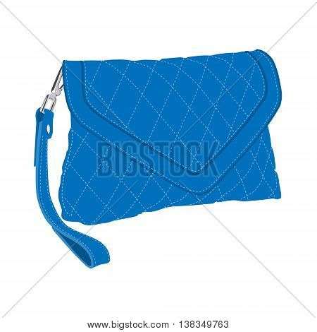 Vector illustration blue fashion clutch bag. Clutch purse. Evening bag