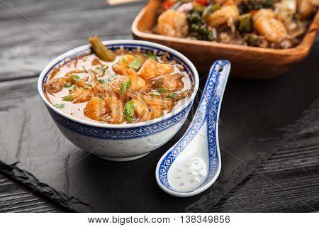 Asian shrimp soup and rice