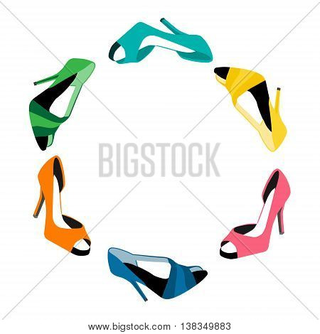Vector illustration summer shoes. Woman shoes. Spring summer fashion collection