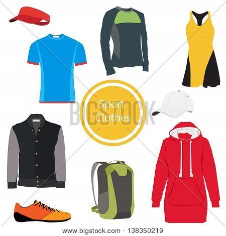 Vector illustration collection of sport clothing. T-shirt jacket baseball cap bootsbackpack . Sport clothes
