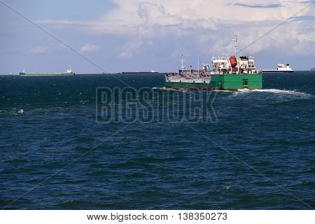 large tanker loaded with oil at sea