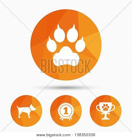 Pets icons. Cat paw with clutches sign. Winner cup and medal symbol. Dog silhouette. Triangular low poly buttons with shadow. Vector